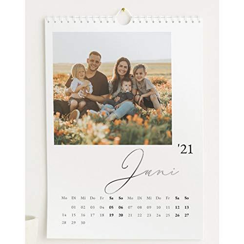 Fotokalender 2021 mit Relieflack, Unser Jahr, Wandkalender mit persönlichen Bildern, Kalender für Digitale Fotos, Spiralbindung, DIN A4 Hochformat