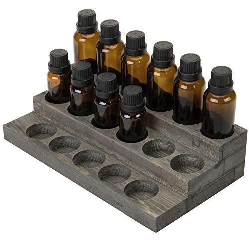 MyGift 3-Tier Vintage Grey Wood 17-Bottle Essential Oil Display Stand