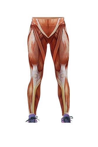 YACUN Damen Leggings Neue Muskel Muster Leggings Sportbekleidung Yogahosen Brownweiß XXL