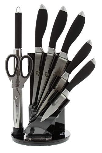 Pradel Exzellenz Messerblock, 4 Küchenmesser, Wetzstahl, Schere, Wiegemesser, Schwarz
