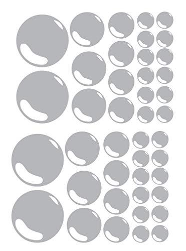 Conjunto de 21 Burbujas Baño Azulejo Adhesivos de Pared Pegatina Gráfico Ensuite Ducha Habitación - Plata Brillo