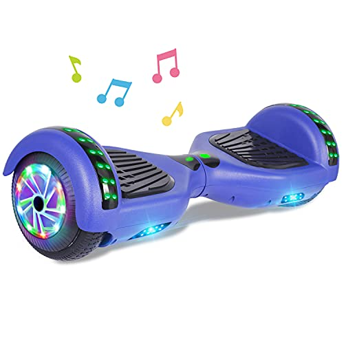 """UNI-SUN 6.5"""" Bluetooth Hoverboard for Kids, Self Balancing Hoverboard with Bluetooth and LED Lights for Adults, UL 2272 Certified Hover Board (Bluetooth Blue)"""