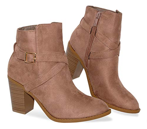 MVE Women's Bootie Side Zip High Stacked Block Heel Ankle Booties