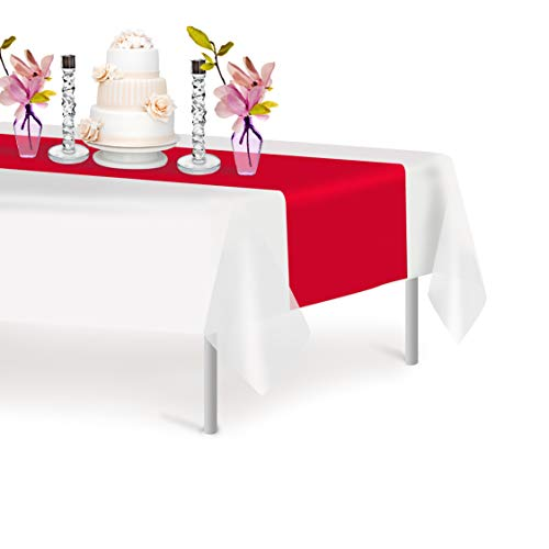 Red 6 Pack Premium Disposable Plastic Table Runner 14 x 108 Inch. Decorative Table Runner for Dinner Parties & Events, Decor By Grandipity
