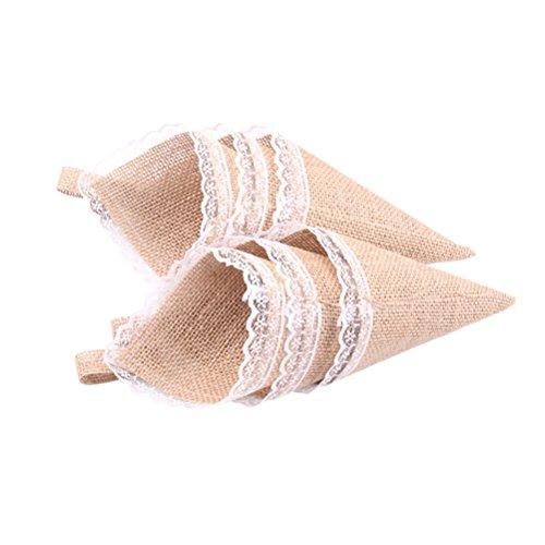 TOYANDONA 10Pcs Burlap Confetti Cone Chocolate Candy Flower Gift Organizer for Wedding Birthday Easter Baby Shower