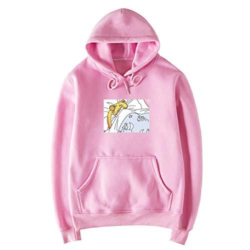 Ynalxfohnz Sailor Moon Fleece Hoodie Fronttasche Langarm Teen Mädchen Cute Sweatshirt (Color : Pink, Size : M)