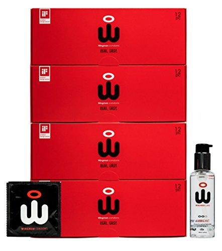 Wingman Kondome - 48 Pack Spezial Gleitmittel combi