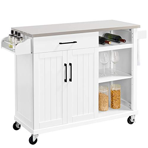 Yaheetech Kitchen Cart with Stainless Steel Top, Kitchen Island on Wheels with Drawer and Cabinet, Open Shelves and Spice Rack Towel Rack, White