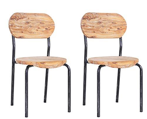 pemora 2-er Set Bistrostuhl stapelbar Stuhl Bauholz Altholz Stahlrohrgestell im Vintage Industrial Design MANDAS