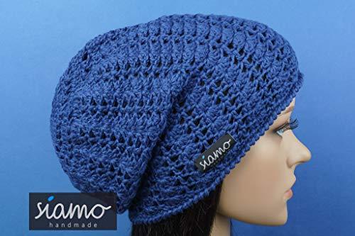 Sommer-Beanie SAVONA blau Baumwolle Sommer-Mütze von siamo-handmade