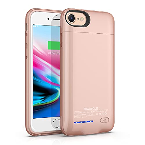 Battery Case for iPhone 6/6s/7/8/(SE 2020),JUBOTY 3000mAh Magnetic Battery Charging Case Slim Portable Rechargeable Charger Case for iPhone 6/6s/7/8(Rose Gold)