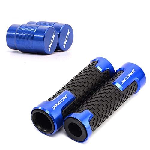 Tapas De Válvula De Neumático De Rueda Tapas Herméticas + Empuñaduras De Manillar De Motocicleta Empuñadura De 7/8' 22 Mm para H-Onda PCX 125 150 Pcx125 Pcx150 Accesorios (Color : Blue)