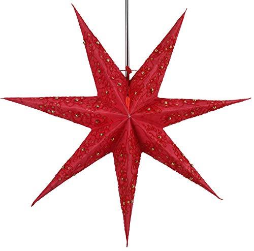 Guru-Shop Faltbarer Advents Leucht Papierstern, Weihnachtsstern Platon 7 - Rot, 60x60x20 cm, Star Fensterdeko, 7 Spitzen