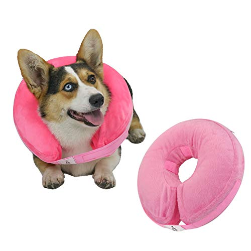 X@HE Adjustable Inflatable Dog Cone Collar, Soft Protective Pet Recovery Cone, Elizabethan Collar for Dogs After Surgery or Wound (M, Pink)