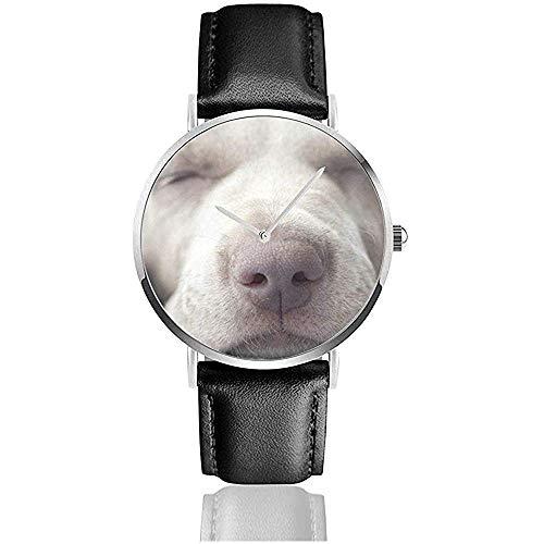 Relojes De Pulsera Cuarzo Little Weimar Cachorro Perro Dormir Frente Animales Vida Salvaje Naturaleza Acero Inoxidable Relojes con Correa De Cuero Relojes De Pulsera