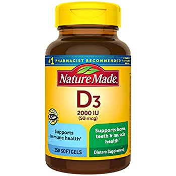 Vitamin D3 250 Softgels Vitamin D 2000 IU  50 mcg  Helps Support Immune Health Strong Bones and Teeth & Muscle Function 250% of the Daily Value for Vitamin D in One Daily Softgel