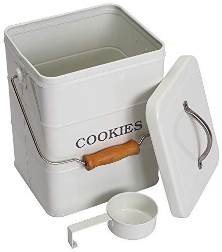 Caja de metal hermética para galletas con asa, color blanco