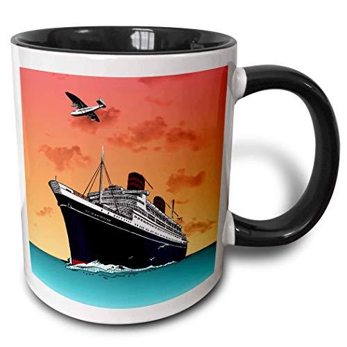 N\A Taza de café Divertida Taza de Crucero con Barco Tropical, 11 oz, Multicolor