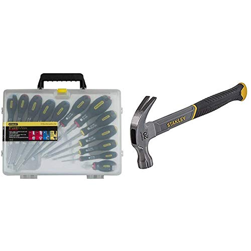 Stanley Fatmax 12 Piece Screwdriver Set & STHT0-51310 20oz Fiberglass Curved Claw Hammer, 570g