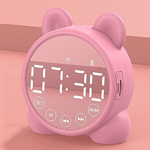 Reloj despertador digital para niños, con función de repetición, temporizador de repetición y carga USB, adecuado para dormitorio, oficina y viajes, regalos para niños y niñas (color rosa