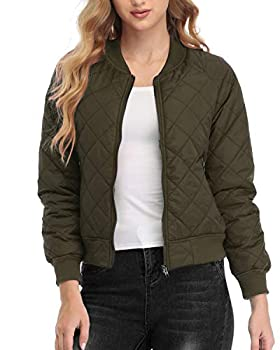 andy & natalie Women s Quilted Jacket Long Sleeve Zip up Raglan Bomber Jacket with Pockets