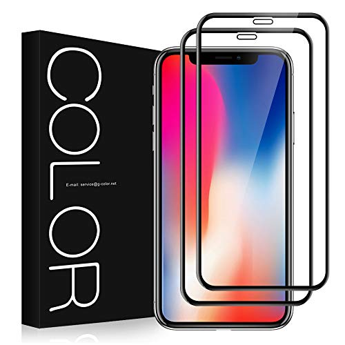 G-Color Protector Pantalla de iPhoneX/XS/iPhone10, [2 Piezas], Cristal Vidrio Templado de 3D [Cobertura Completa] [Anti-choque][Alta definición], Protector de Pantalla para iPhoneXS/X/iPhone10