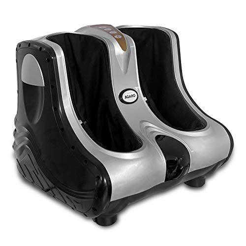 AGARO Amaze Foot, Calf & Leg Massager, with Vibration & Heat, 3 Massage Levels, 4 motors (Silver-Black)