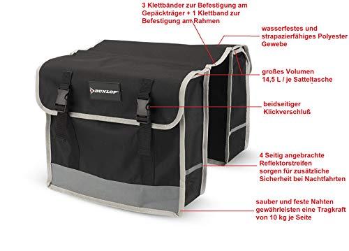 Dunlop FGT19 Doppel-Fahrradtasche Gepäckträgertasche für Rahmen, Cityrad Gepäckträger Tasche je 14,5 L Volumen, wasserdichte Radtasche , Fahrrad Seitentasche mit Clip-Verschluß, schwarz - 2