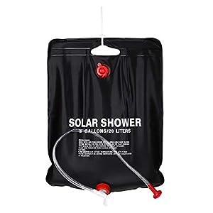 OhhGo - Bolsa de ducha solar para acampada, 20 L, portátil, con calefacción solar, bolsa de almacenamiento, plegable, bolsa de baño, ligera, para camping, senderismo