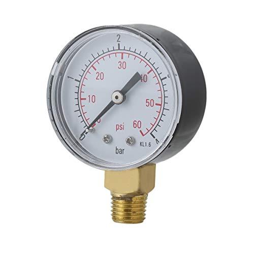 Heaviesk Praktische Pool Spa Filter Wasser Manometer Mini 0-60 PSI 0-4 Bar Seitenmontage 1/4 Zoll Rohrgewinde NPT TS-50