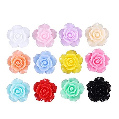 healifty 50pcs Rose Flores Perlas flatback DIY Cabochons accesorios Embellecimiento para scrapbooking artesanía 10mm