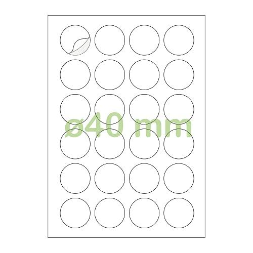 Gluetack –Etiquetas Adhesivas Redondas Blancas Ø 40 mm | 25 Folios Adhesivos – 24 Etiqueta/Hoja – 600 Pegatinas |...