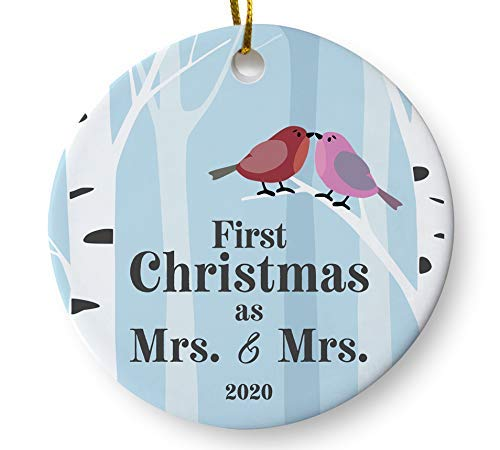 Newlywed Lesbian Couple Wedding Keepsake Ornament, First Christmas as Mrs and Mrs 2020 Same Sex Bridal Shower Present, 3 Inch Flat Ceramic Ornament with Gift Box
