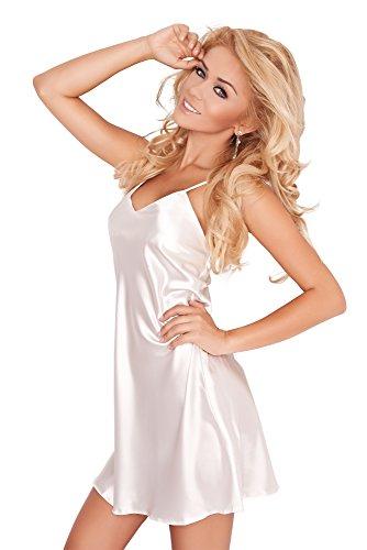 spass42 sexy Damen Nachtkleid aus Satin mit Spagettiträger Nachtwäsche Nachthemd Negligee Sleepshirt Groesse: XL