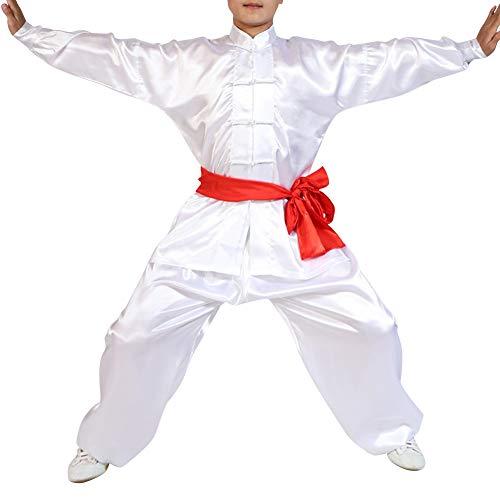 Yudesun Kampfsport Bekleidung Unisex Erwachsener Kind Trainingsbekleidung Sets - Chinesische Tradition Tai Chi Wushu Kleidung Jungen Mädchen Leistung Kostüm Kung Fu Uniform Weiß 150cm