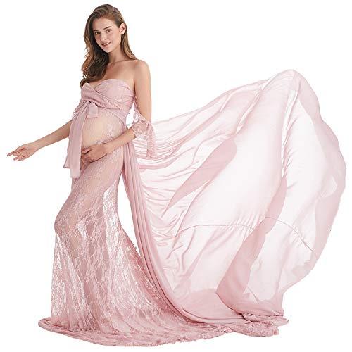 AYMENII Vestido de maternidad con hombros descubiertos de sirena, vestido de novia...