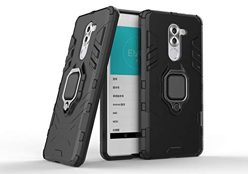 Cocomii Black Panther Ring Huawei Honor 6X/Mate 9 Lite/GR5 2017 Case, Slim Thin Matte Vertical & Horizontal Kickstand Ring Grip Drop Protection Bumper Cover Compatible with Huawei Honor 6X (Jet Black)