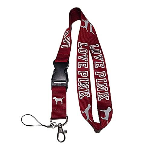 Love Pink Lanyard Burgundy Maroon Neck Strap Keychain ID Holder Keyring for Keys Phones Bags
