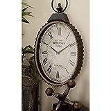 Metal Rope Wall Clock Black Farmhouse Oval Iron Natural Finish Roman Numeral Display