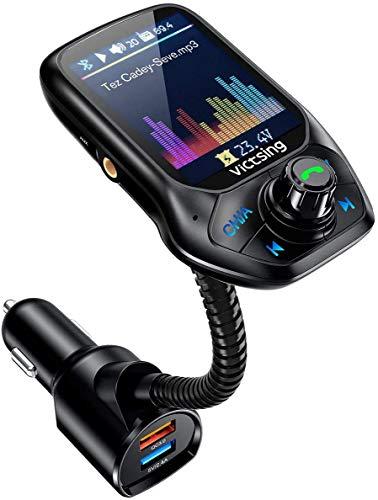 FM Transmitter Auto Bluetooth, OMORC Bluetooth FM Transmitter Unterstütz Intelligente Suche, Kfz Radio Adapter Freisprecheinrichtung mit 1,8\'\'Farbbildschirm/QC 3.0/3 USB Ports/U Disk/TF Karte/Aux