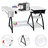 TUFFIOM 57-Inch Sewing Craft Table, Specialized Sewing Machine Shelf, Enlarged Cutting Space, Sturdy Multifunctional Computer Desk with Storage Drawer, Adjustable Height, Ideal for Home Indoor Use