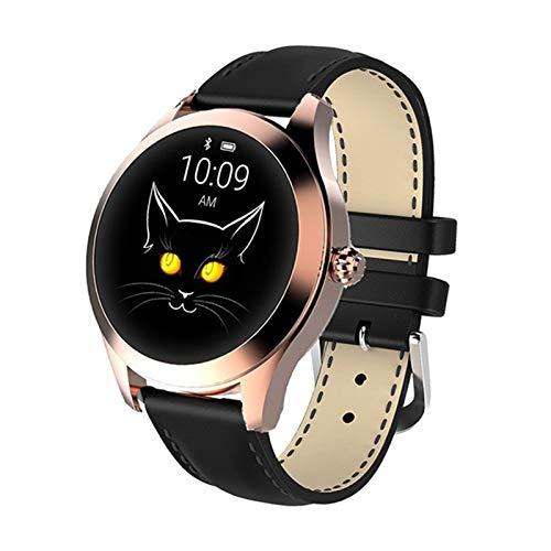 WYDYDM IP68 Waterproof Smart Watch Mujeres Encantadora Pulsera Ritmo cardíaco Monitor de sueño monitoreo smartwatch Connect iOS Android (Color : Gold Black)
