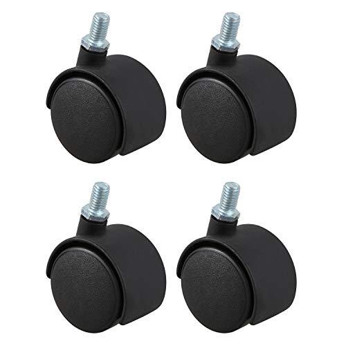 Ruedas giratorias de vastago roscado - SODIAL(R) Rueda giratoria de plastico de 8mm de tornillo de vastago de diametro de la rueda de 1,5 pulgadas 4 piezas negro