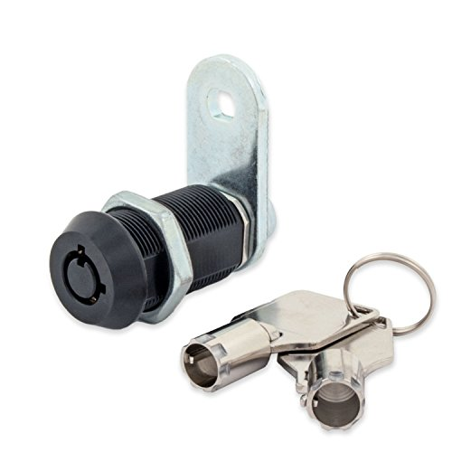 "FJM Security 2400AL-BLK-KD Tubular Cam Lock with 1-1/8"" Cylinder and Black Finish, Keyed Different"