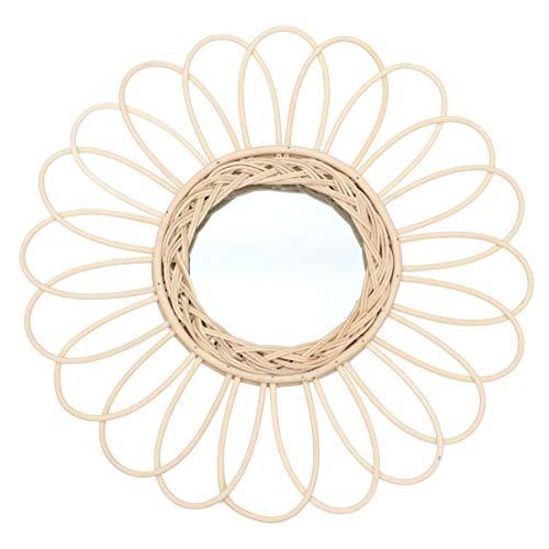 BESPORTBLE 1 Unid Decoración de Arte Espejo Espejo de Caña Espejo de Pared Espejo de Ratán Espejo de Vanidad Fotografía Prop para Dormitorio O Baño