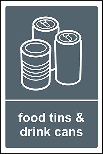 LIANGMING Cartel de papelera de reciclaje para latas de alimentos y bebidas, letrero de lata de 8 x 12 en casa, cocina, bar, bar, bar, oficina, decoración de pared