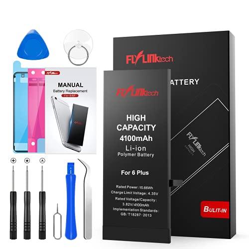 Batería para iPhone 6 Plus 4100mAH con 41% más de Capacidad Que la batería Origina, FLYLINKTECH Reemplazo de Alta Capacidad Batería para iPhone 6 Plus con Kits de Herramientas de reparación