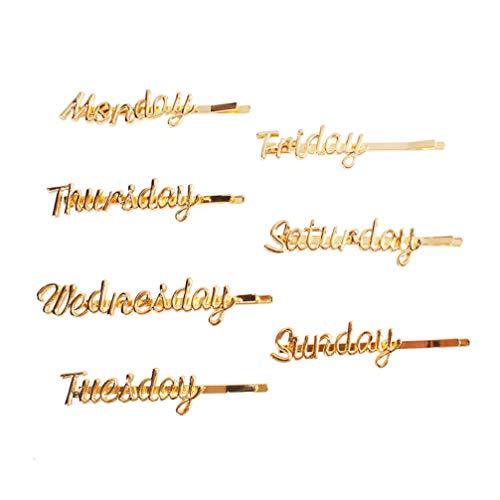 Minkissy 7 peças de grampos de cabelo com letras brilhantes de metal de segunda a domingo, letras inglesas, grampos de cabelo dourados, joias de cabelo para mulheres e meninas