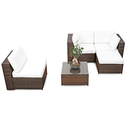 XINRO® erweiterbares 15tlg. Balkon Polyrattan Lounge Ecke - braun - Sitzgruppe Garnitur Gartenmöbel Lounge Möbel Set aus Polyrattan - inkl. Lounge Sessel + Ecke + Hocker + Tisch + Kissen - 3