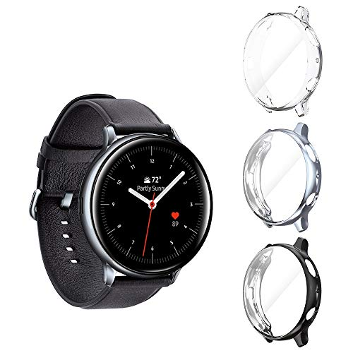 Seltureone (3 Pack) Compatible for Samsung Galaxy Watch Active 2 Case 44mm (2019), Heavy-Duty Overall Full Body Protective TPU Anti-Scratch Cover for Active2 44mm (Clear,Black,Gray)